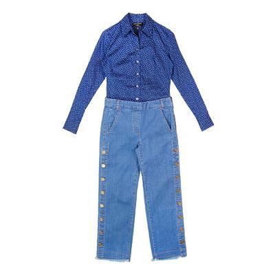 dot pattern shirt blue & side buckle detail pants
